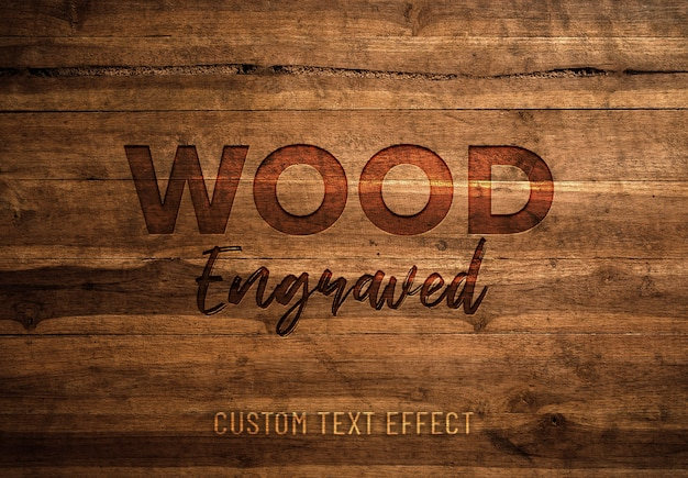 Holz gravierter texteffekt Premium PSD