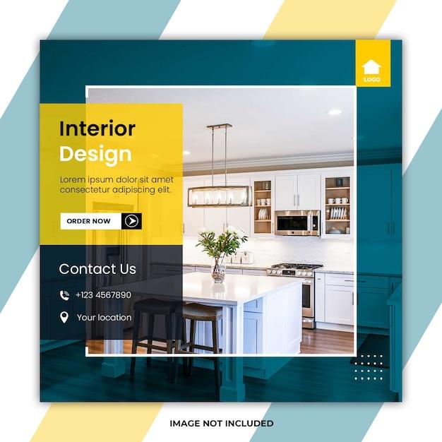 Home interior design social media post vorlagen Premium PSD