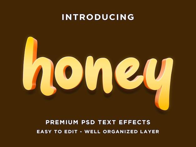 Honig - 3d moderne bearbeitbare psd-texteffekt-modell Premium PSD