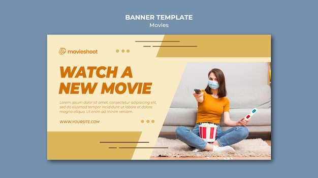Horizontale banner-vorlage der filmzeit mit foto Kostenlosen PSD