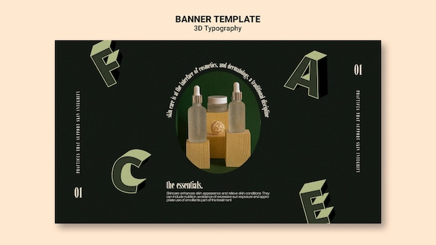 Horizontale banner-vorlage für die anzeige von flaschen mit ätherischen ölen mit dreidimensionalen buchstaben Kostenlosen PSD