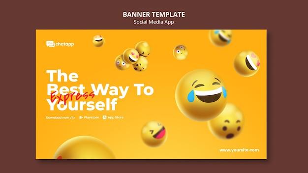 Horizontale banner-vorlage für social-media-chat-app mit emojis Kostenlosen PSD
