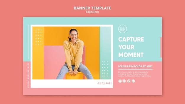 Horizontale bannerschablone des bunten digitalismus mit foto Kostenlosen PSD