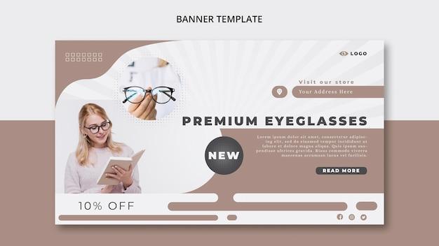 Horizontale bannerschablone für brillenfirma Kostenlosen PSD