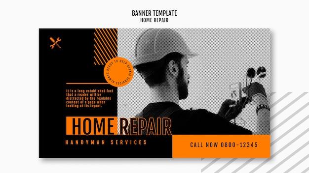 Horizontale bannerschablone für hausreparaturfirma Premium PSD