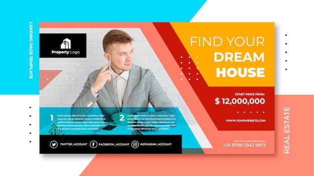 Horizontale bannervorlage für immobilienunternehmen Kostenlosen PSD