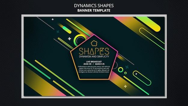 Horizontale bannervorlage mit dynamischen geometrischen neonformen Kostenlosen PSD