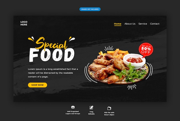 Horizontale zielseite des restaurantlebensmittelmenüs Premium PSD