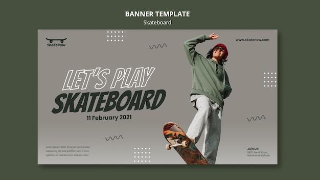 Horizontales banner der skateboard-lektion Kostenlosen PSD