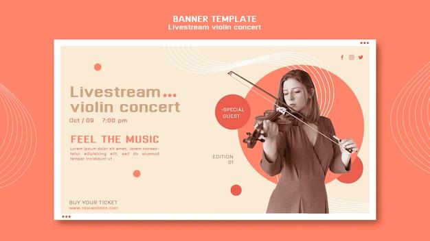 Horizontales banner des livestream-violinkonzerts Kostenlosen PSD