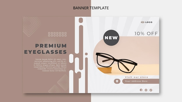 Horizontales banner für brillenunternehmen Premium PSD