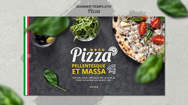Horizontales banner für italienisches pizzarestaurant Kostenlosen PSD