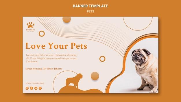 Horizontales banner für tierhandlung mit hund Kostenlosen PSD