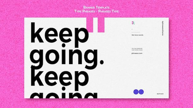 Horizontales banner für typphrasen Kostenlosen PSD