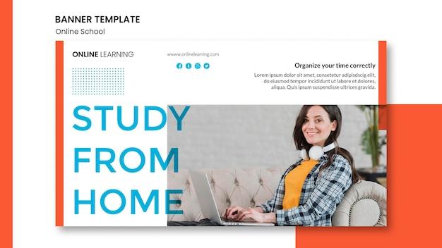 Horizontales bannerdesign der online-schule Kostenlosen PSD