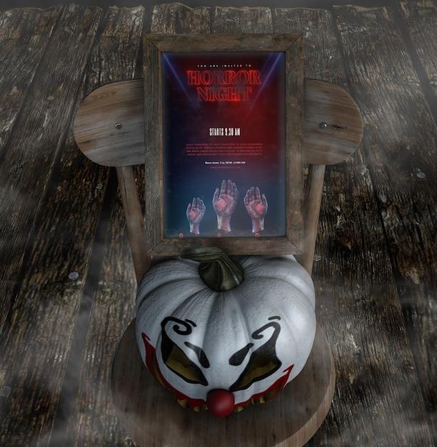 Horrornacht für halloween mit clownkürbis Kostenlosen PSD