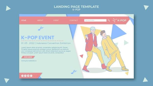 Illustrierte k-pop-landingpage-vorlage Kostenlosen PSD