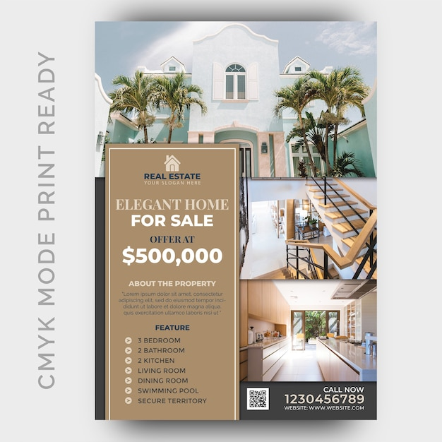 Immobilien business flyer design-vorlage Premium PSD