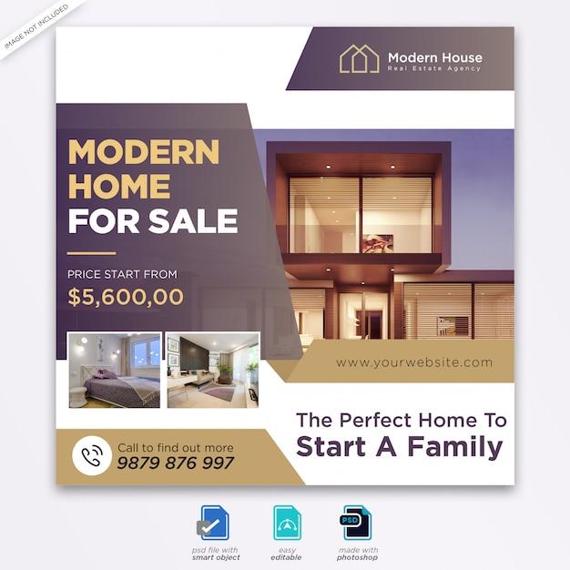 Immobilien design social media post vorlage Premium PSD