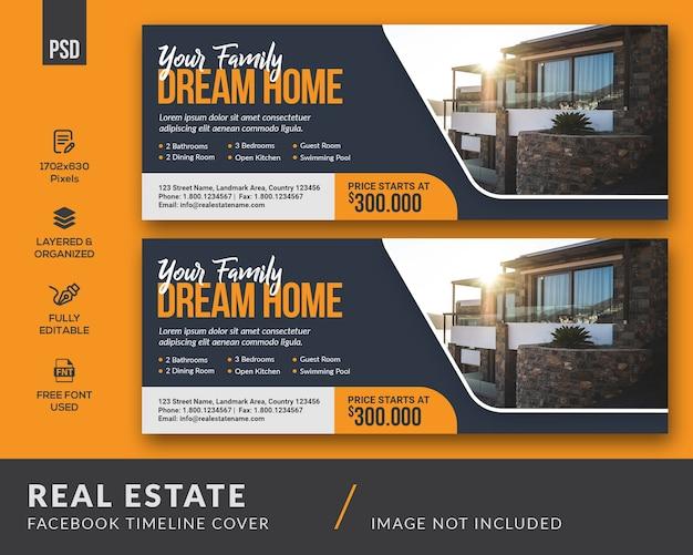 Immobilien facebook cover vorlage Premium PSD