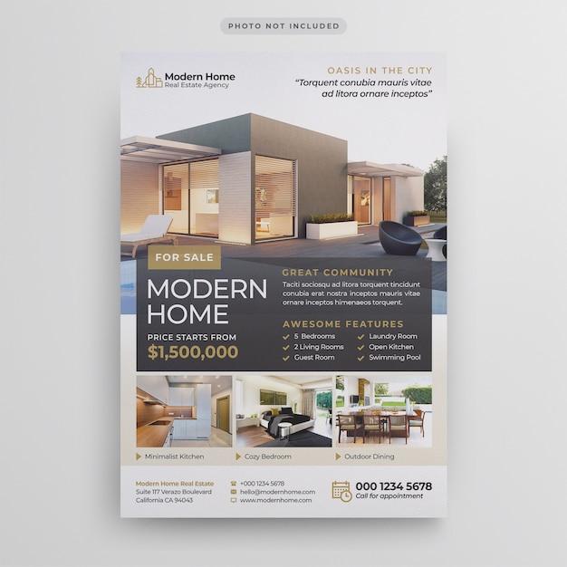 Immobilien flyer vorlage Premium PSD