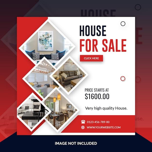 Immobilien quadratische banner vorlage Premium PSD