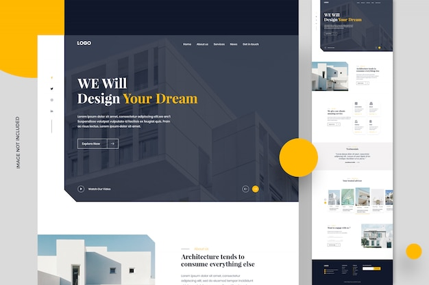 Immobilien-website-seitenvorlage oder website-design Premium PSD
