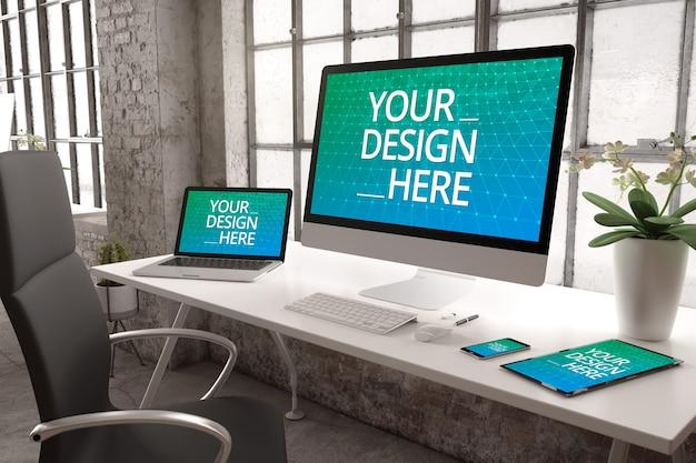 Industriebüro mit gerätemodell für reaktionsschnelle website Premium PSD