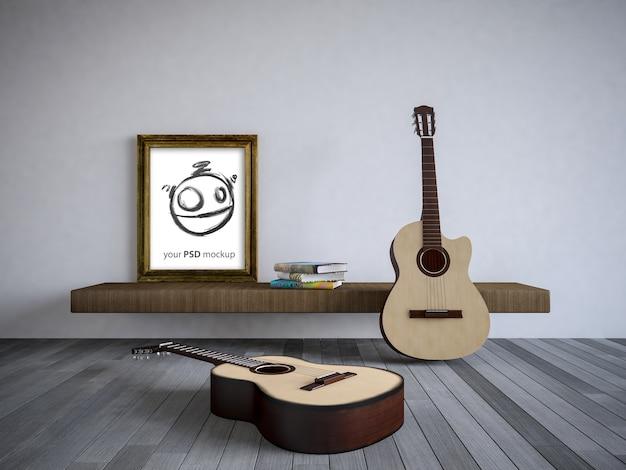 Innenarchitekturmodell mit gitarren Premium PSD