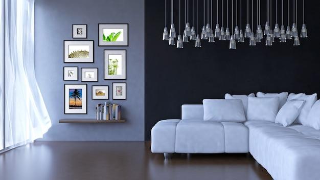 Innenarchitekturwohnzimmer mit rahmenmodell und ansichtmodell Premium PSD