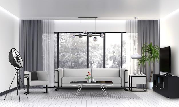 Innenwohnzimmer mit sofa, anlage, lampe, intelligentes fernsehen, 3d übertragen Premium PSD