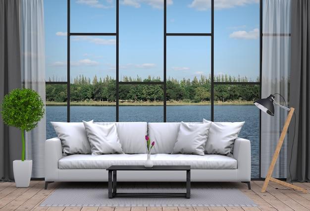 Innenwohnzimmer und flusslandschaft. 3d-rendering Premium PSD