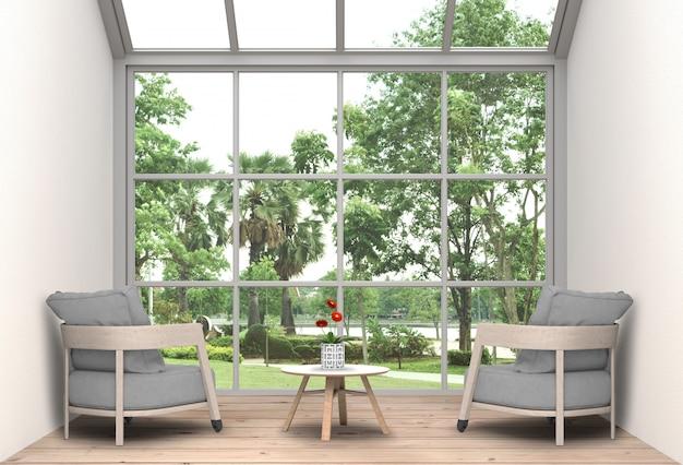 Innenwohnzimmer und parklandschaft. 3d-rendering Premium PSD