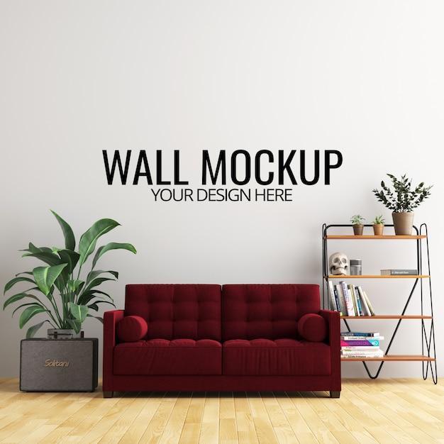 Innenwohnzimmer-wand-hintergrund-modell mit möbeln und dekoration Premium PSD