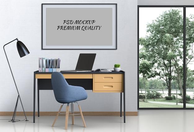 Innenwohnzimmerarbeitsplatz mit laptop-computer und leerem plakat des modells Premium PSD
