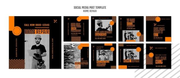 Instagram beiträge sammlung für hausreparaturfirma Premium PSD