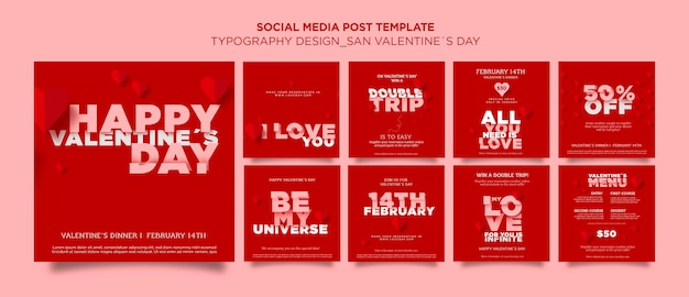 Instagram beiträge sammlung zum valentinstag mit herzen Premium PSD