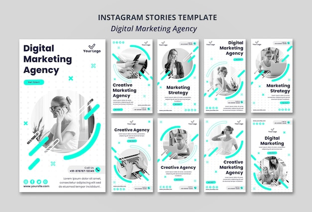 Instagram-geschichten der agentur für digitales marketing Premium PSD
