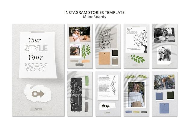 Instagram-geschichten-konzept mit moodboard Kostenlosen PSD
