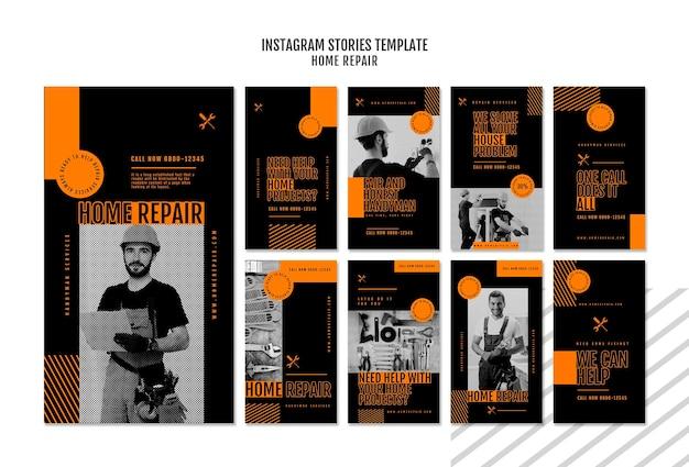 Instagram geschichten sammlung für hausreparaturfirma Premium PSD