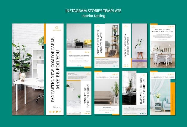 Instagram geschichten sammlung für innenarchitektur Premium PSD