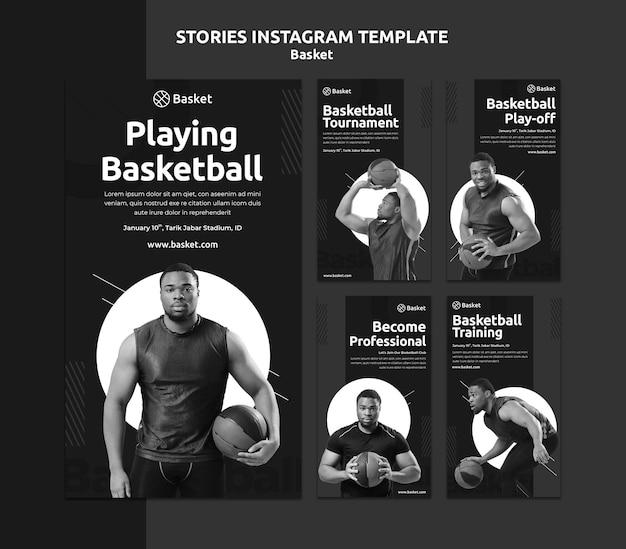 Instagram geschichten sammlung in schwarz und weiß mit männlichen basketball-athleten Premium PSD