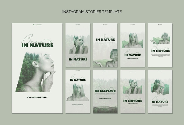 Instagram geschichten vorlage konzept mit wilder natur Kostenlosen PSD