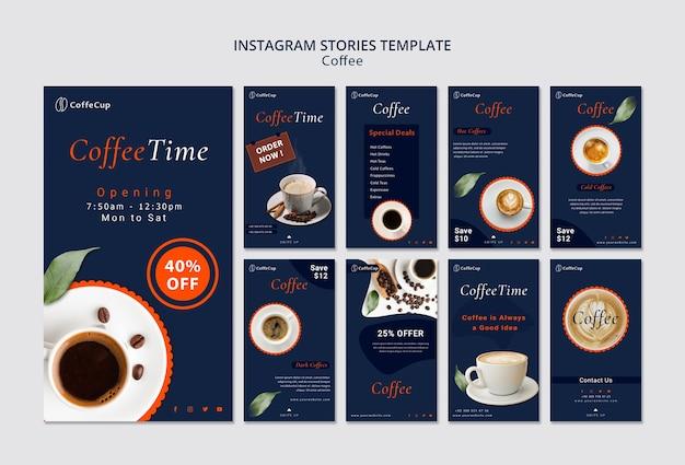 Instagram geschichten vorlage mit kaffee Kostenlosen PSD