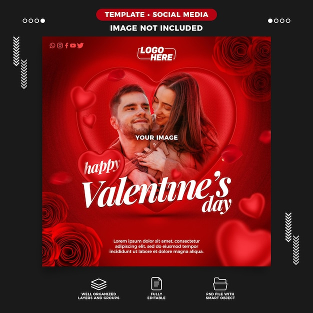 Instagram post für valentinstag feier vorlage Premium PSD