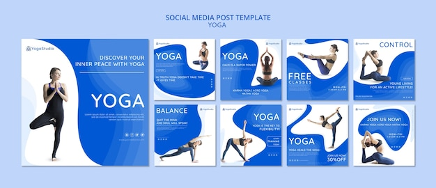 Instagram post sammlung für yoga fitness Kostenlosen PSD