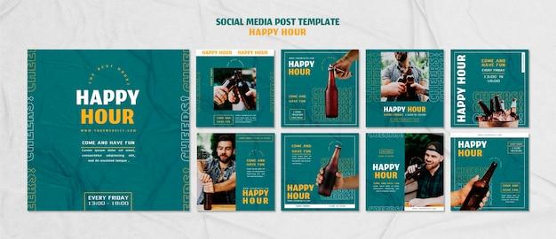 Instagram posts sammlung für happy hour Premium PSD