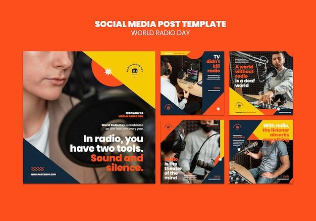 Instagram-postsammlung für den weltradiotag mit sender und mikrofon Kostenlosen PSD