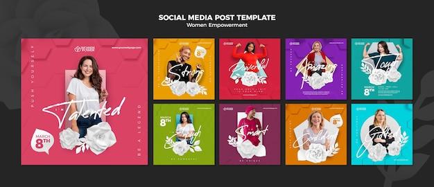 Instagram-postsammlung zur stärkung von frauen mit ermutigenden worten Premium PSD