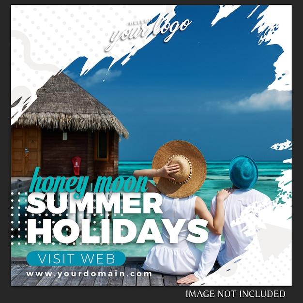 Instagram-sommerferien-reise-posten-schablone Premium PSD